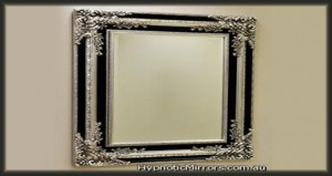 HTA 014 Silver Black Traditional Wide Framed Mirro